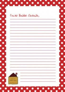 Letterina Babbo Natale con cornice pois