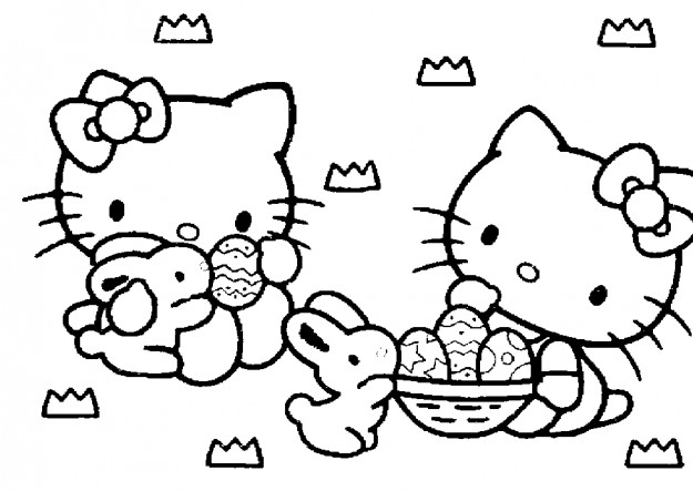 Hello Kitty da colorare per Pasqua
