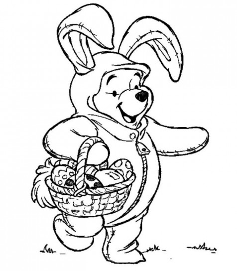 Winnie the Pooh da colorare per Pasqua 