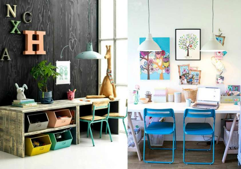 scrivanie fai da te idee originali per la cameretta dei bambini foto pourfemme. Black Bedroom Furniture Sets. Home Design Ideas