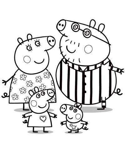 Peppa pig da colorare foto mamma pourfemme for Peppa pig drawing templates