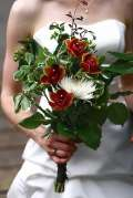 Bouquet verde con rose