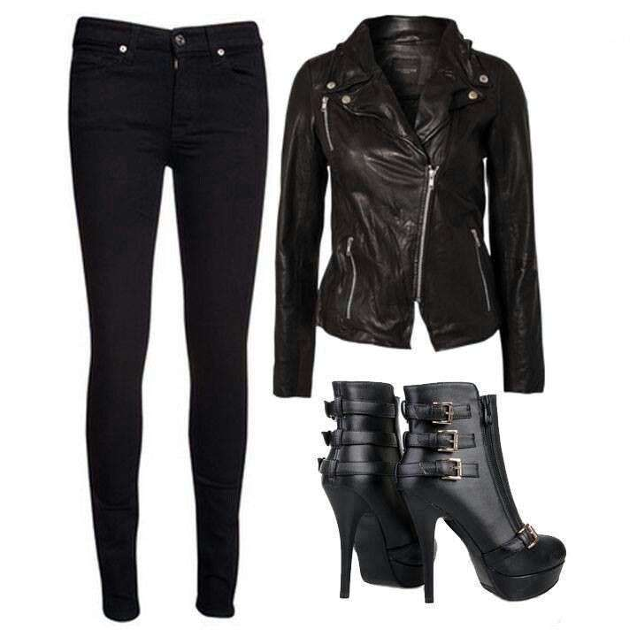 Look biker chic in total black
