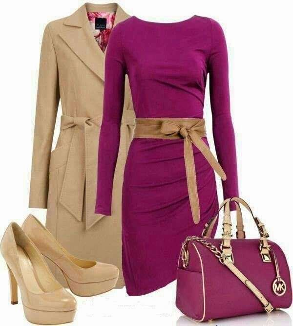 Look elegante in color malva e beige