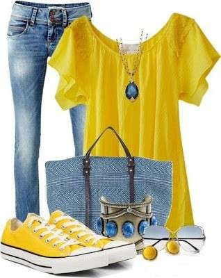 Look con sneakers gialle