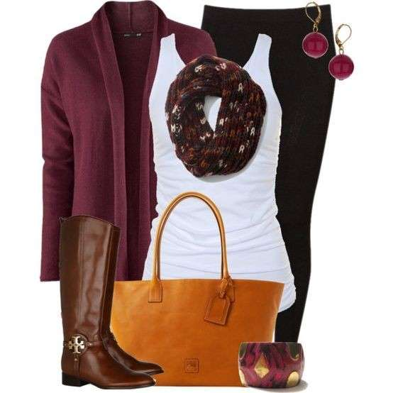Look con capi marroni e burgundy