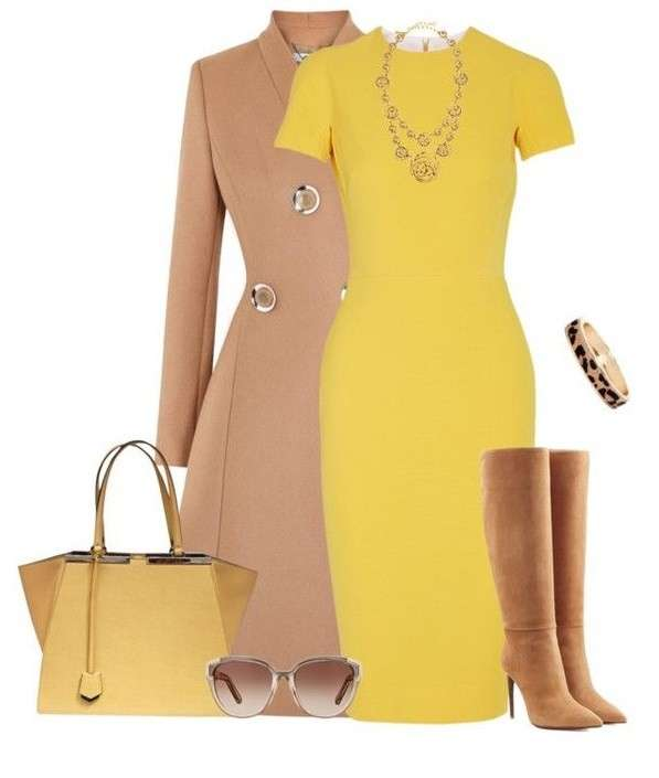 Look elegante in cammello e giallo