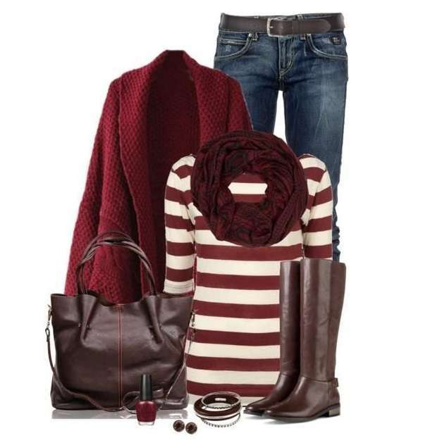 Look con capi bordeaux