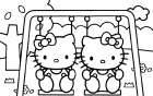 Disegni da colorare Hello Kitty altalena