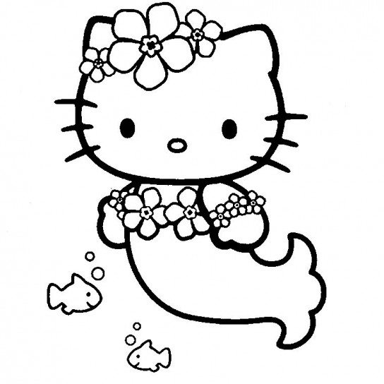 Disegni da colorare Hello Kitty sirena
