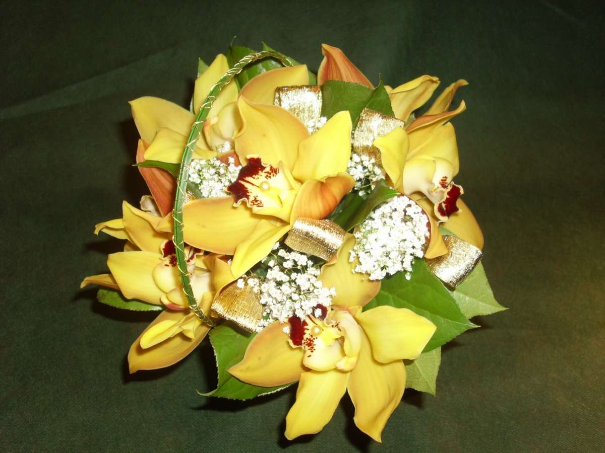 Bouquet sposa orchidee gialle