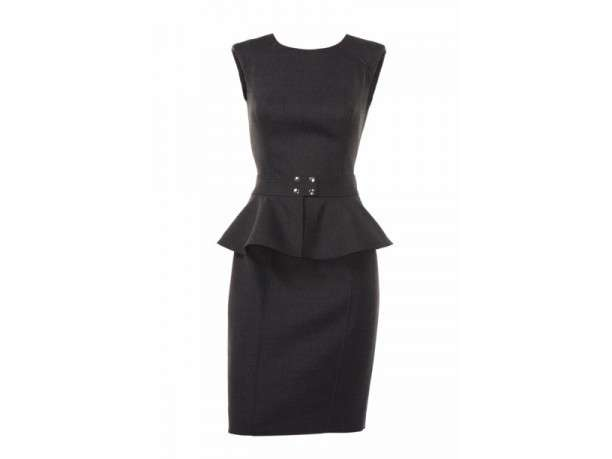 Peplum dress nero