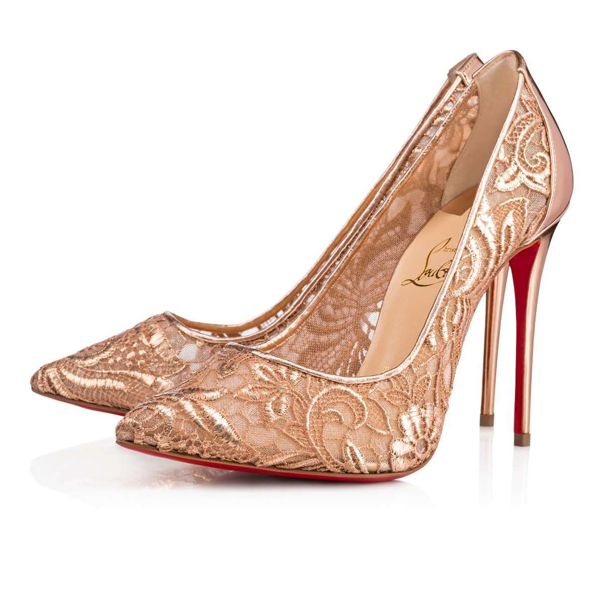 Scarpe in pizzo color carne Christian Louboutin