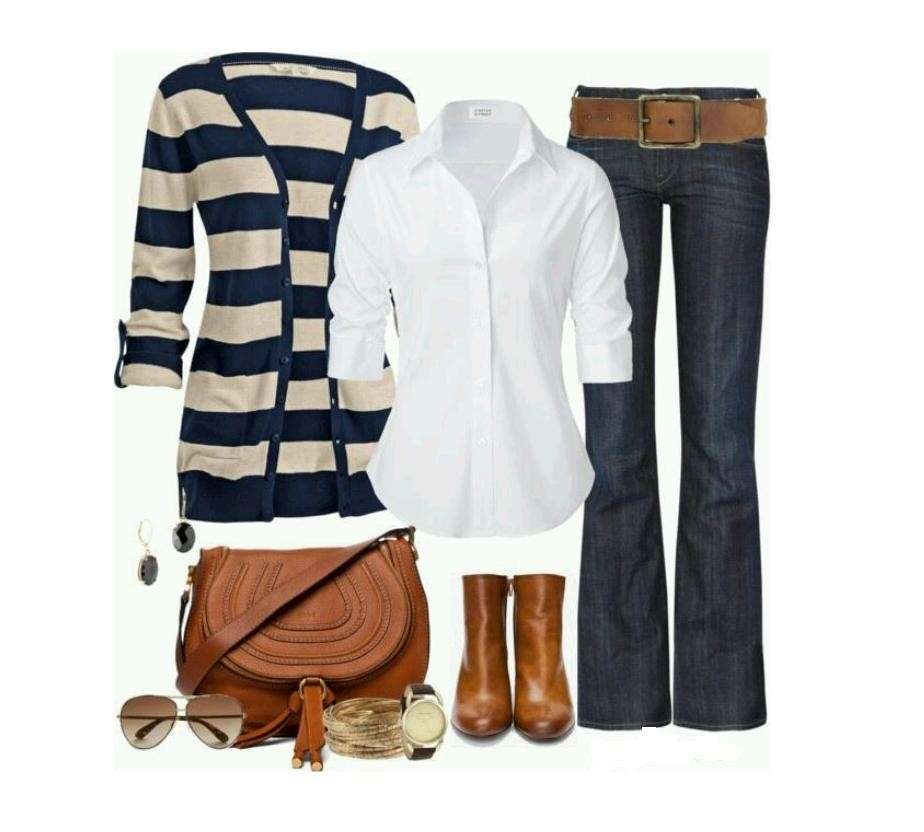 Look casual chic con cardigan a righe