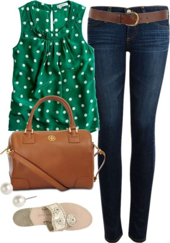 Look easy chic con top a pois