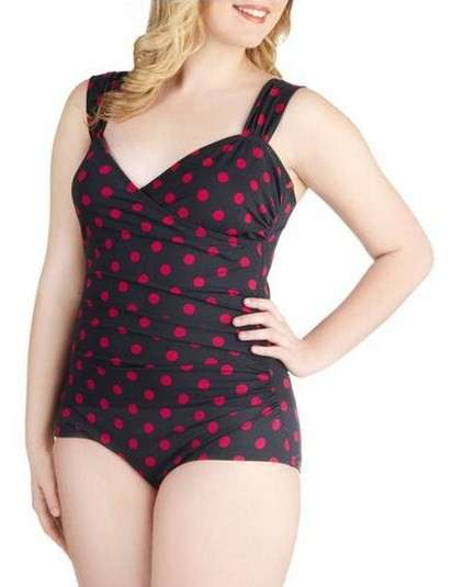 Costume intero in stile pin up a pois