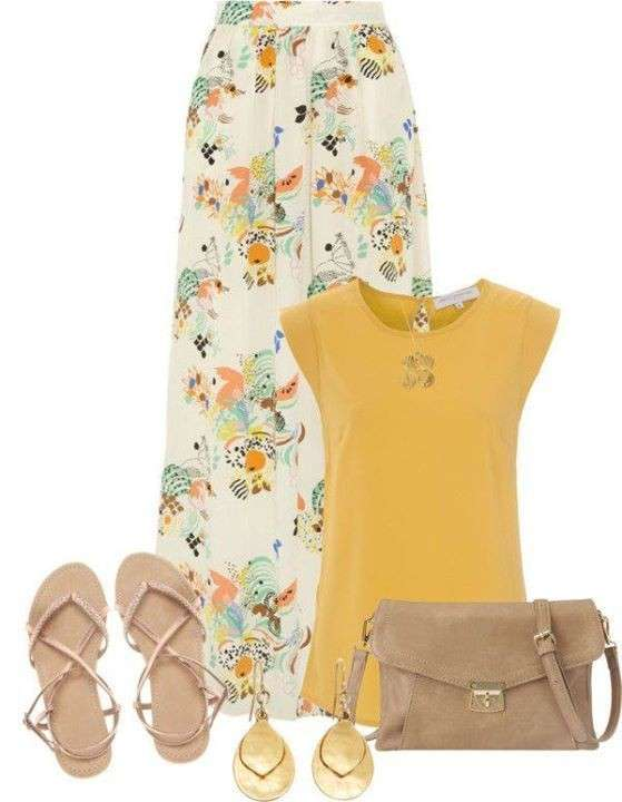 Look con longskirt stampata