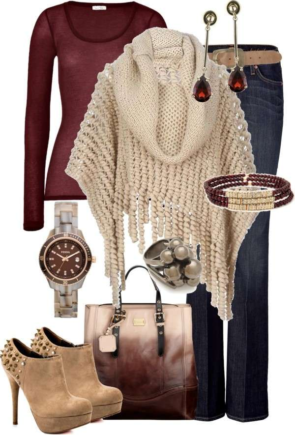 Look con capi bordeaux e beige