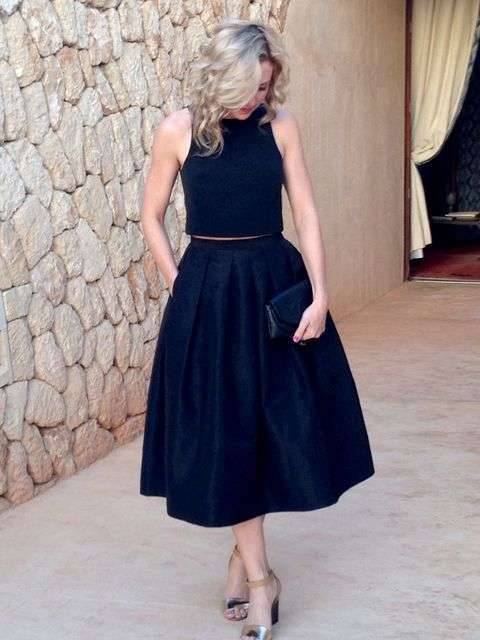 Look in total black elegante