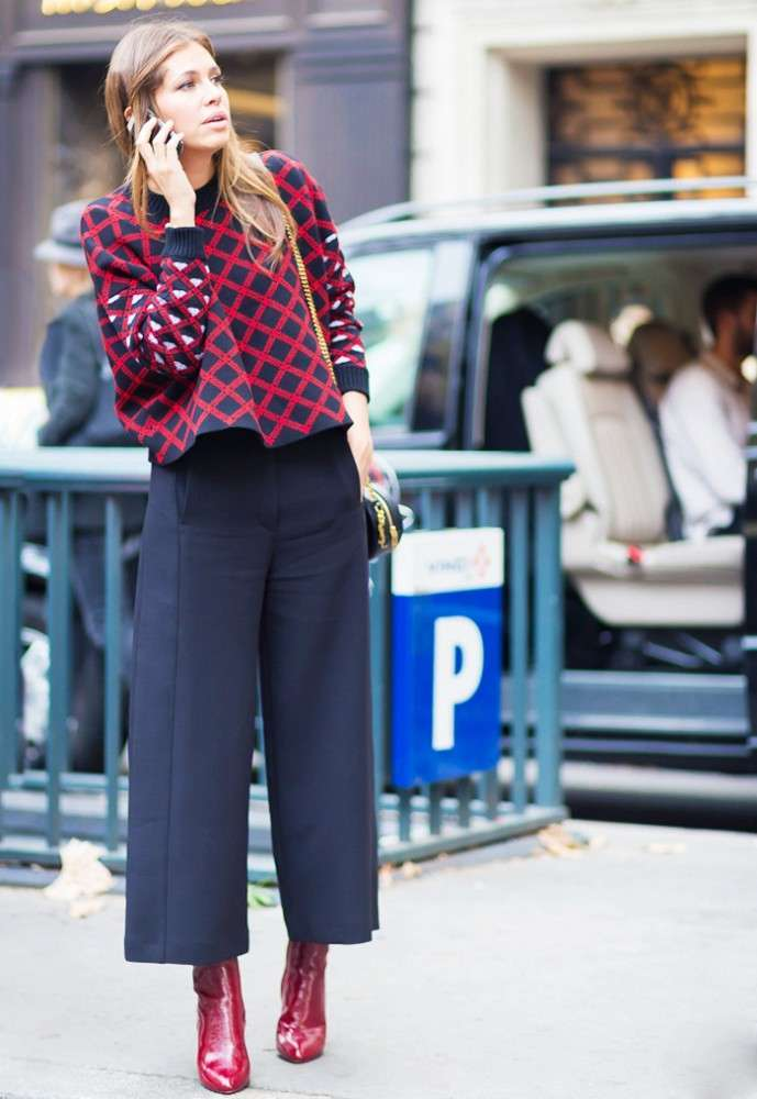 Cropped sweater e pantaloni culotte