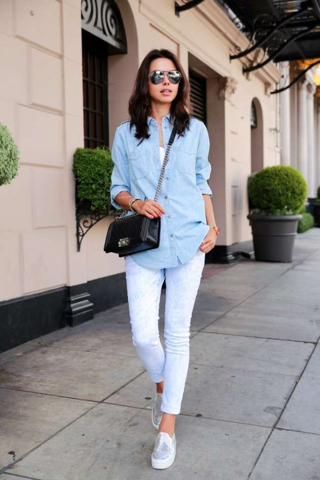 Look con jeans bianchi