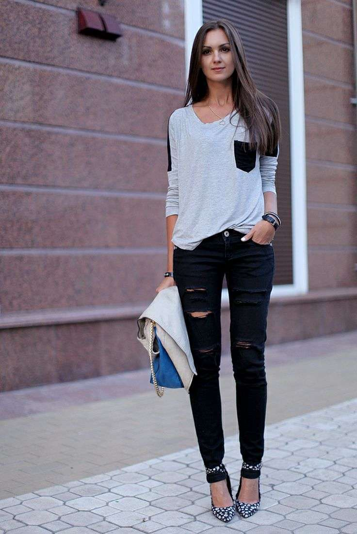 Look con jeans neri