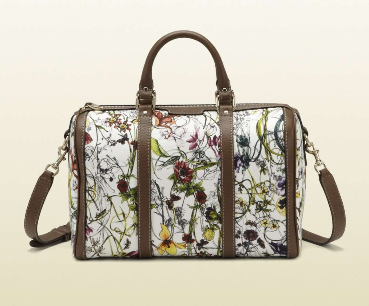 Bauletto Gucci vintage in tessuto Flora 29749cd79ee5