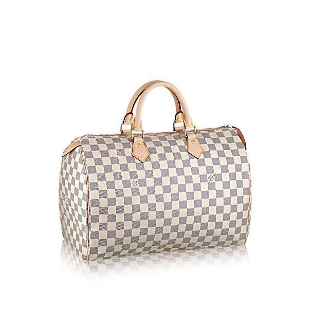 Bauletto Speedy 40 Louis Vuitton in tela Damier Azur