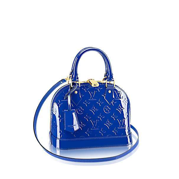 Borsa Louis Vuitton Alma Vernis in vernice blu