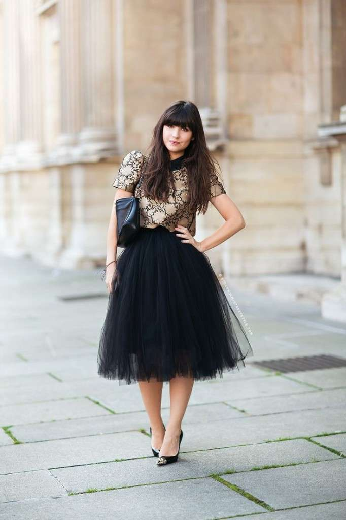 Gonna longuette di tulle nero