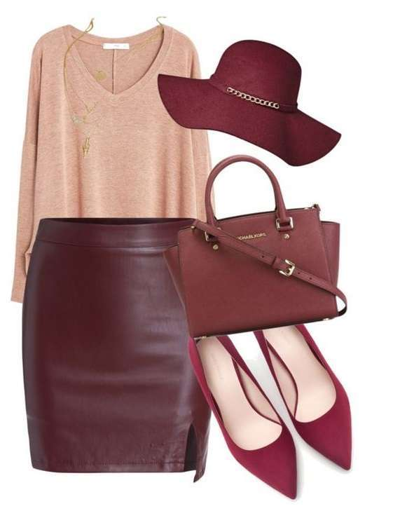 Gonna di pelle bordeaux e ballerine
