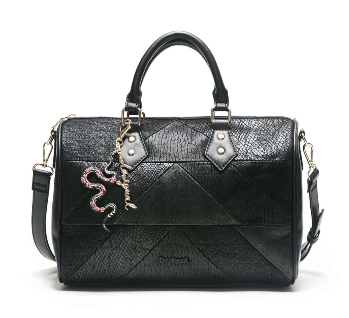 Bauletto nero Snake Patch Desigual