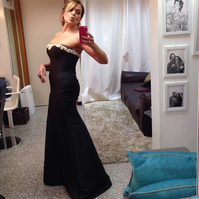 Barbara D'Urso in long dress nero