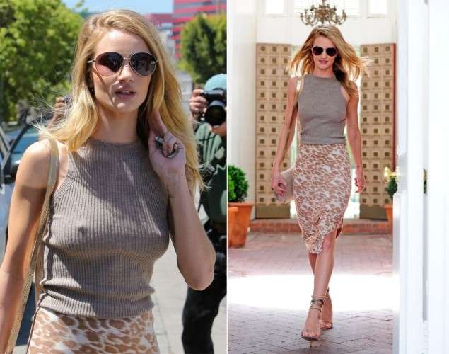 Rosie Huntington-Whiteley senza reggiseno